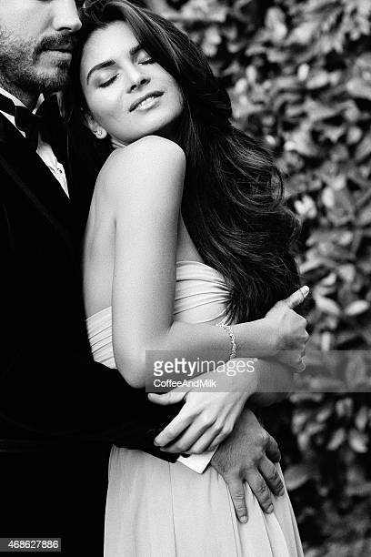 two people in love - black and white sensual couples stock photos and pictures
