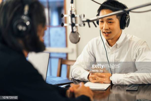 two people making talkshow for radio - radio stock pictures, royalty-free photos & images