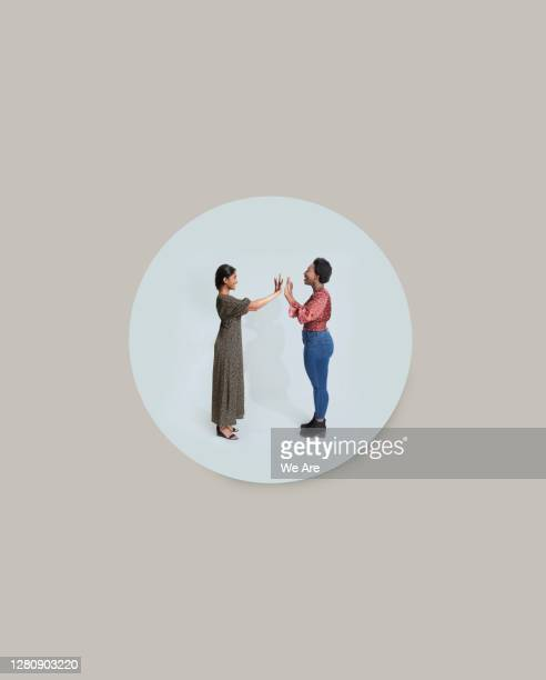 two people meeting in bubble - social distancing stock pictures, royalty-free photos & images