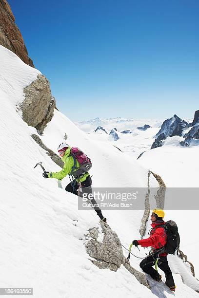 Two people mountain climbing, Chamonix, France
