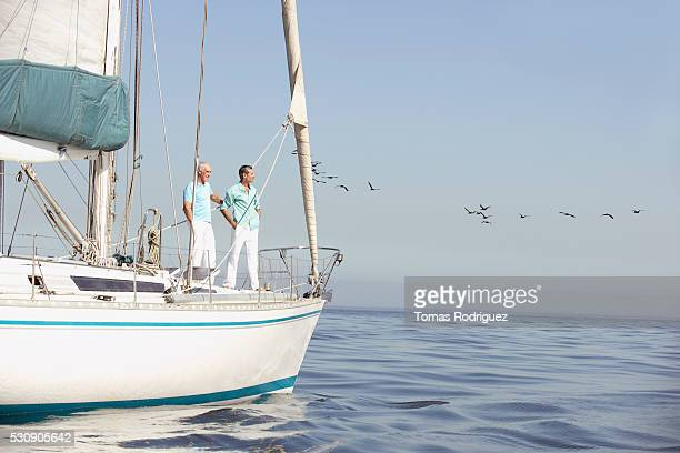 Two people on sailboat
