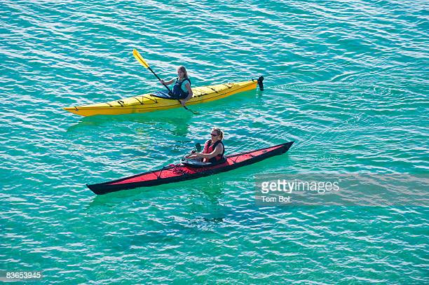 Two people sea kayaking in Kino Bay, Mexico.