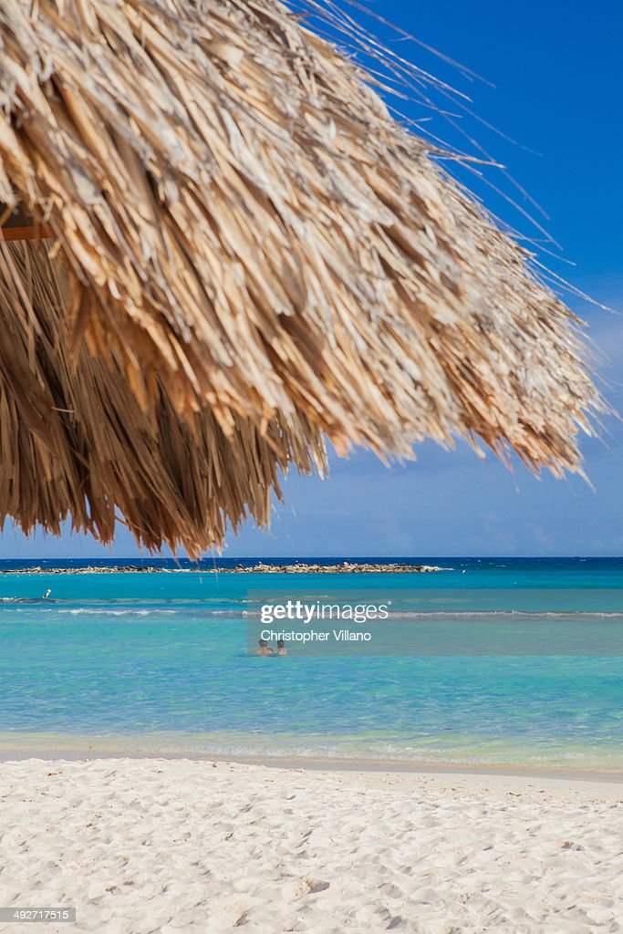 Two people swimming off Palm Beach, Aruba, Lesser Antilles, Caribbean : Stock Photo