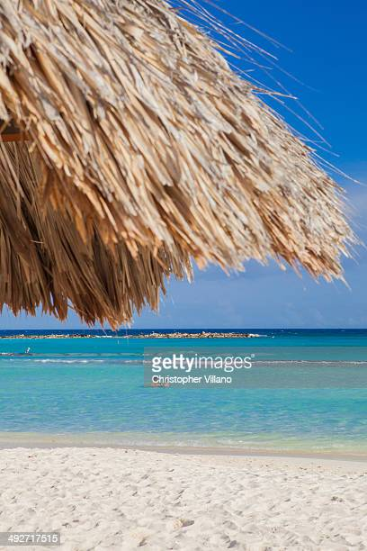 Two people swimming off Palm Beach, Aruba, Lesser Antilles, Caribbean