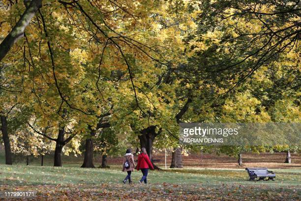 Two people walk through Green Park with the trees showing Autumnal colours in central London on November 4 2019