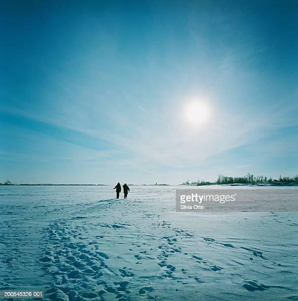 Two people walking on frozen ocean