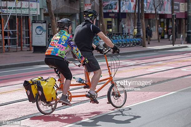 Two peoples  riding on the tandem bicycle, San Francisco