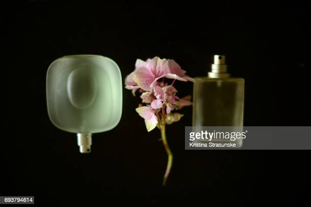 two perfume bottles and a flower