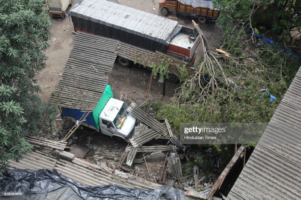 Two persons died and nine others were injured when a huge tree fell on them following heavy rainfall last night on motor garage in Narpoli, on September 12, 2017 in Mumbai, India. The victims were standing near an automobile garage in Narpoli area of Bhiwandi Township when the tree suddenly fell on them. The nine injured persons were rushed to a government hospital.