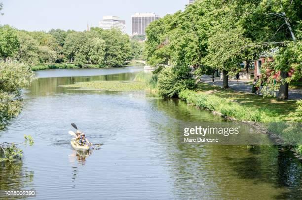 dos personas kayak en el río charles en boston durante día de verano - lugar famoso local fotografías e imágenes de stock