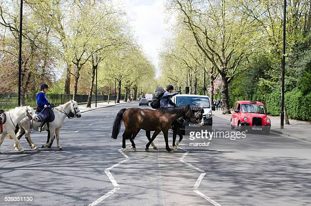 Two persons riding horse crossing the street