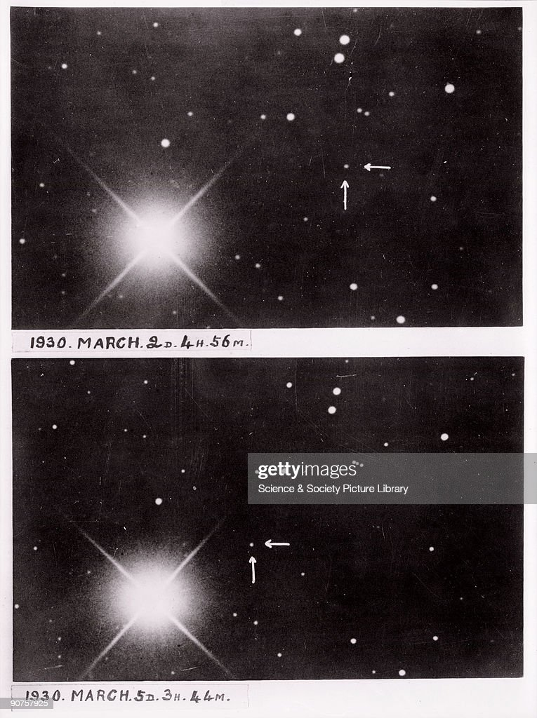 Two photographs of Pluto, March 1930. : News Photo