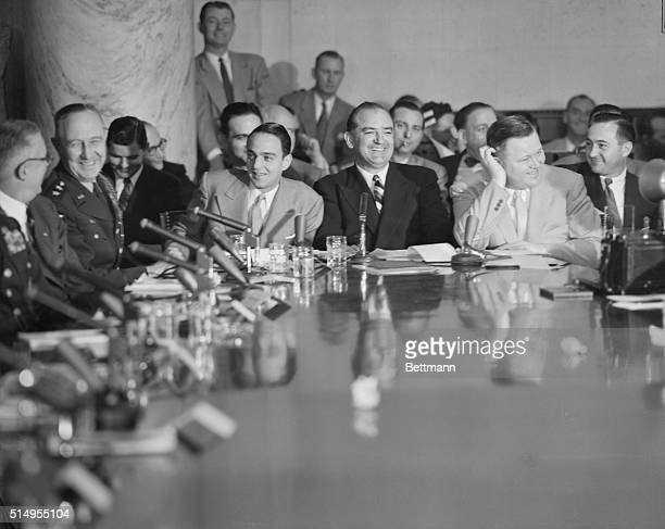 Two picture combo showing Sen. Joseph R. McCarthy , and his chief counsel, Roy Cohn, as they appeared at the opening session of the Senate...