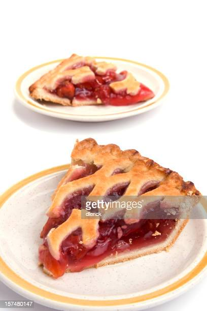 two pieces of cherry pie