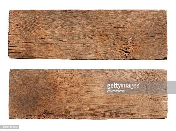 Two pieces of old weathered wood boards.