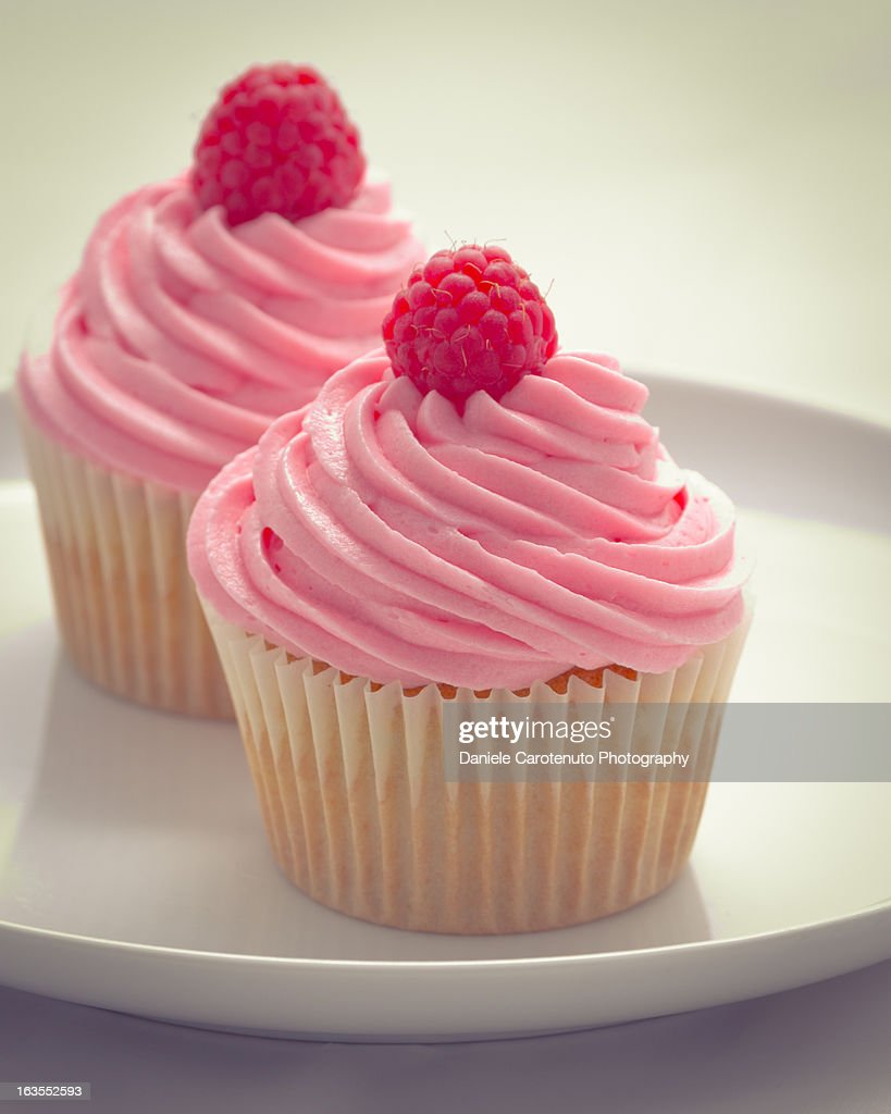 Two pink cupcakes : Stock Photo