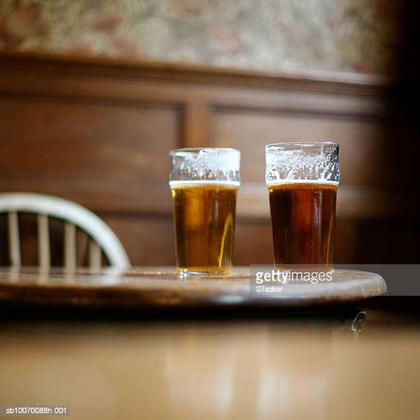 Two pints of beer on table
