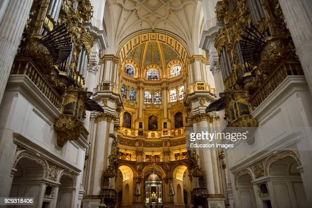 Two pipe organs and rotunda dome of the main altar in the Granada Cathedral of the Incarnation
