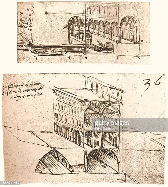 Two plans for canals in a town c1472c1519 From The Literary Works of Leonardo Da Vinci Vol II by Jean Paul Richter PH DR [Sampson Low Marston Searle...