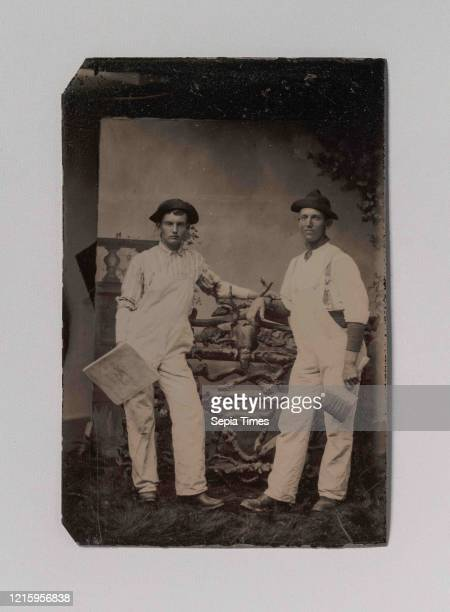 Two Plasterers in Overalls Leaning on a Rustic Fence, 1870s-80s, Tintype, Image: 9 x 6 cm , Photographs, Unknown .