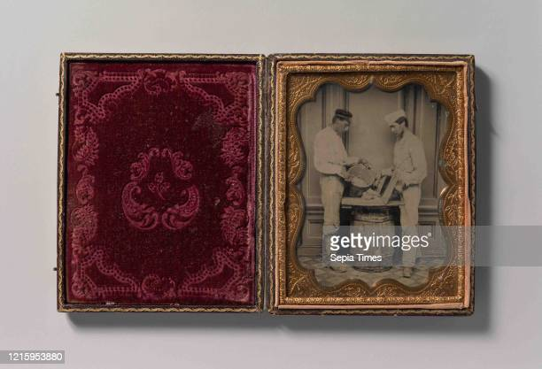 Two Plasterers Mixing Plaster, 1870-80s, Tintype, Image: 12 x 9 cm , Photographs, Unknown .