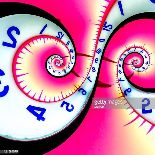 two pole droste effect clock face - miglioramento digitale foto e immagini stock