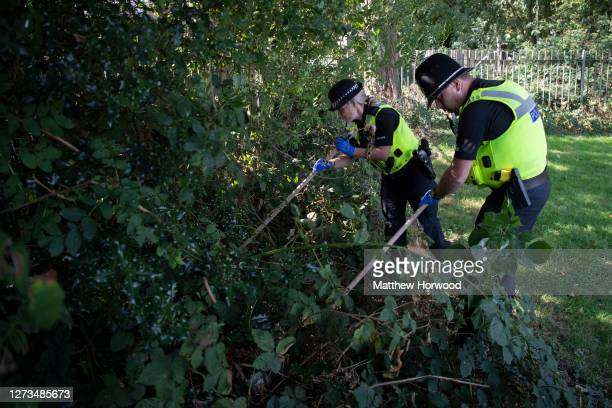 Two police officers look for knives at Edgwick Park on September 19, 2020 in Coventry, England. Shadow Home Secretary Labour MP Nick Thomas-Symonds...