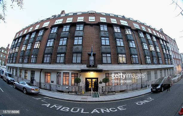 Two Police Officers stand guard in the early morning at the King Edward VII Private Hospital on December 4 2012 in London England Catherine Duchess...