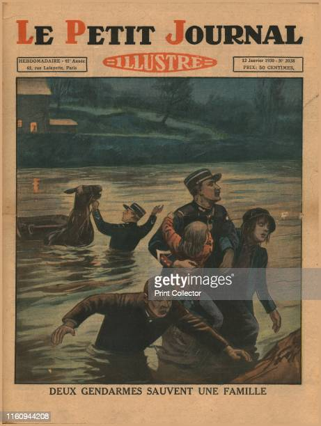 Two policemen save a family, 1930. 'Deux Gendarmes Sauvent Une Famille'. French policemen rescue a family and their horse from floods. Front cover of...