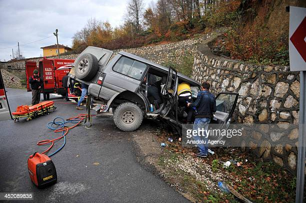Two polish tourists were seriously injured when their car hit the retaining wall on November 26 2013 in Duzce Turkey Driver Miroslav Pirasek and...