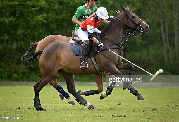 two polo players challenging for the ball - polo stock pictures, royalty-free photos & images