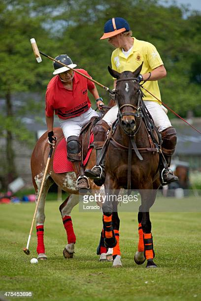 Two polo players challenging for the ball