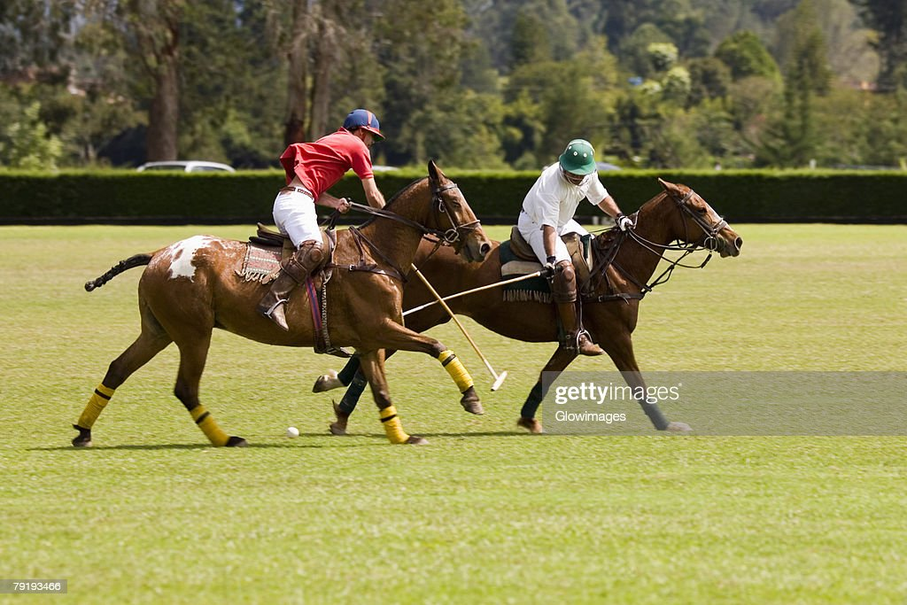 Two polo players playing polo : Stock-Foto
