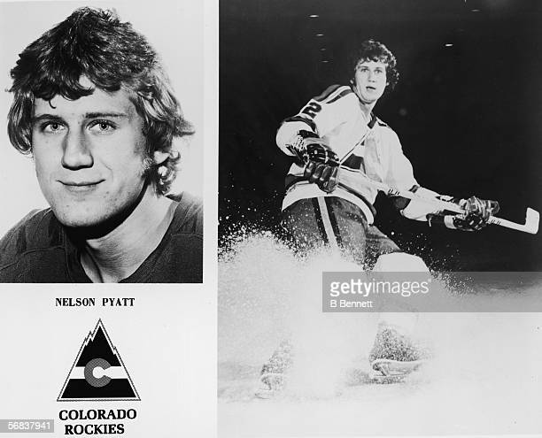 Two portraits of Canadian hockey player Nelson Pyatt of the Colorado Rockies a headshot on the left and on the right a fulllength action portait amid...