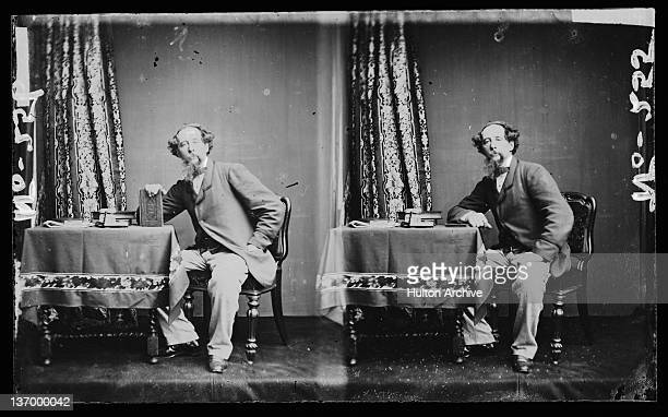 Two portraits of English novelist Charles Dickens circa 1860