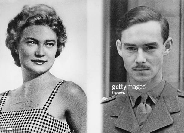 Two portraits of Princess JosephineCharlotte of Belgium and her fiance Grand Duke Jean of Luxembourg circa 1950