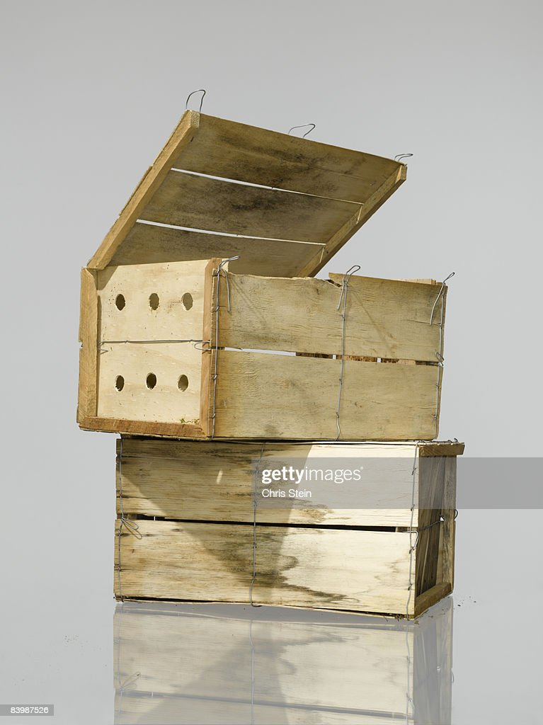 Two produce crates stacked on top of each other : Stock Photo