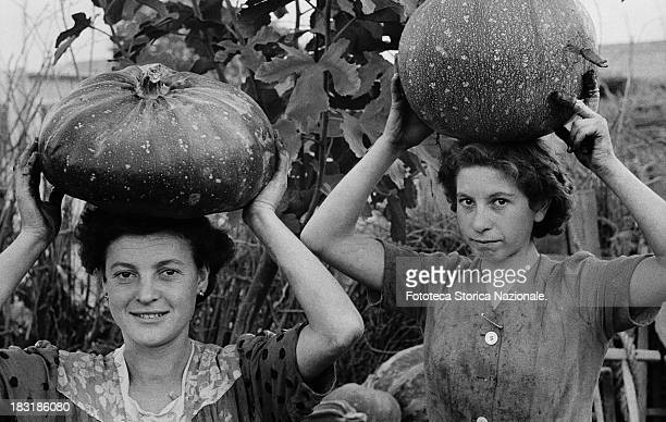 Two pumpkin pickers in Qualiano Italy circa 1955 The best way to carry a big pumpkin for these women is on their heads From the exhibition 'Olives...