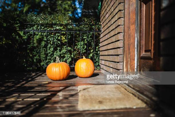 two pumpkins on a porch - linda wilton stock pictures, royalty-free photos & images