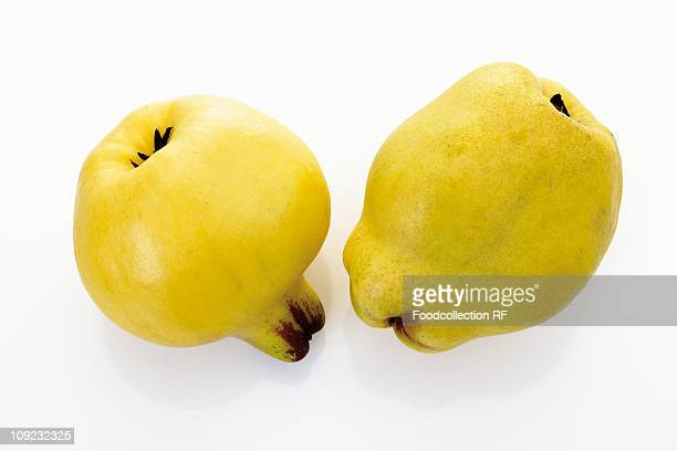 Two quinces on white background, close-up