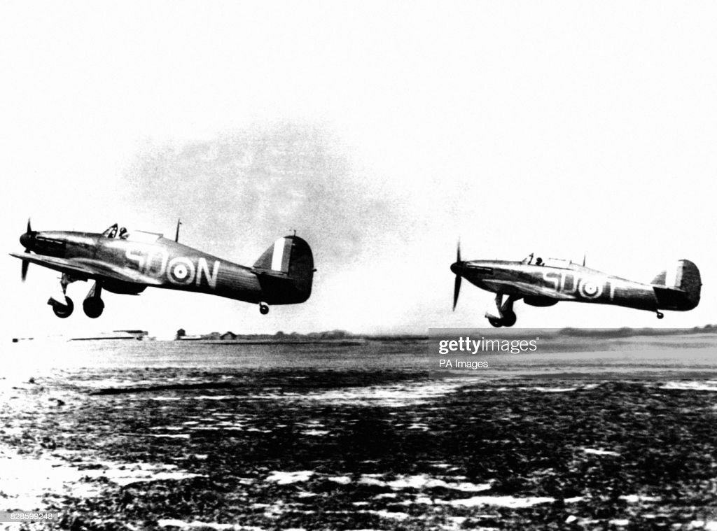 Two RAF Hawker Hurricane MK1 Fighters From 79 Squadron Taking