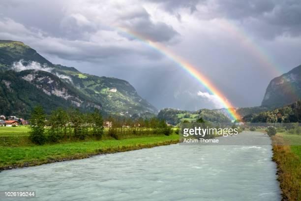 Two rainbows near the village of Brienz, Switzerland, Europe