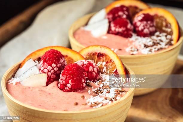 Two Raspberry Smoothie Bowls