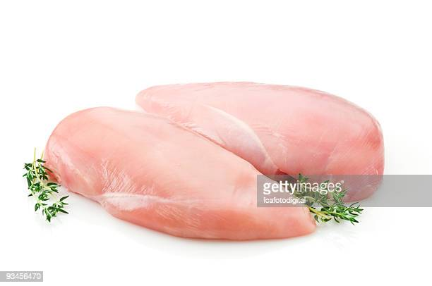 Two raw chicken breast on white backdrop