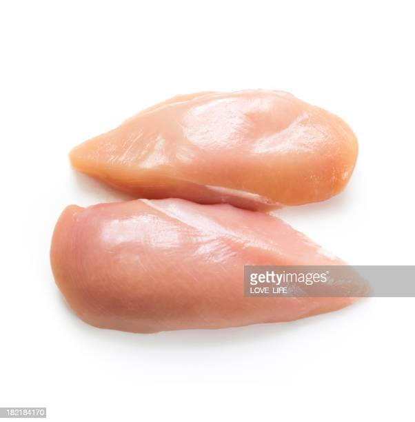 Two raw chicken breasts on a white background