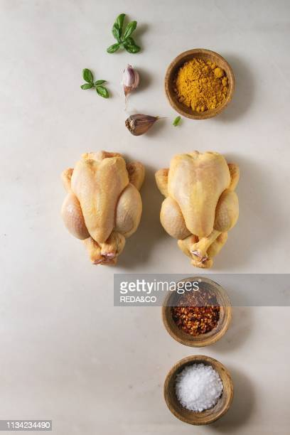 Two raw organic uncooked whole yellow corn mini chicken with salt turmeric powder red hot chili pepper basil garlic over marble background Cooking...