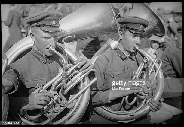 Two Red Army soldiers playing helicons 1930s