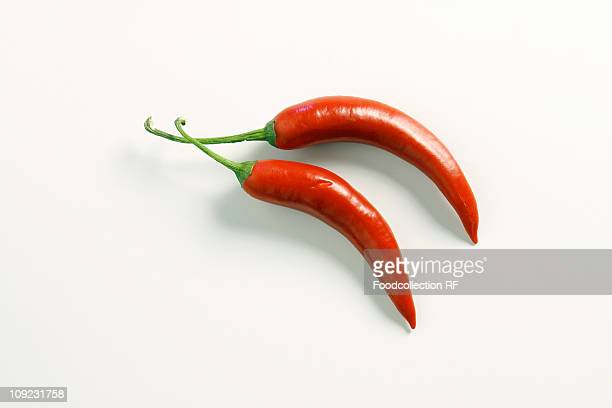 Two red chillies on white background, Close-up