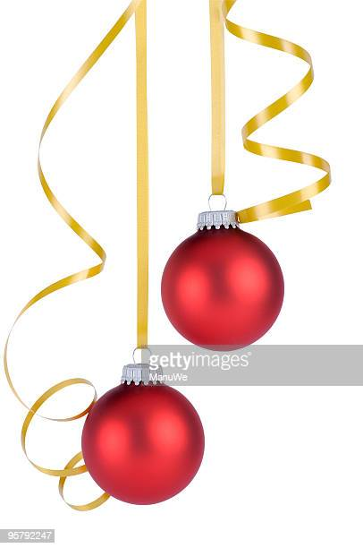 Two Red Christmas Globes hanging