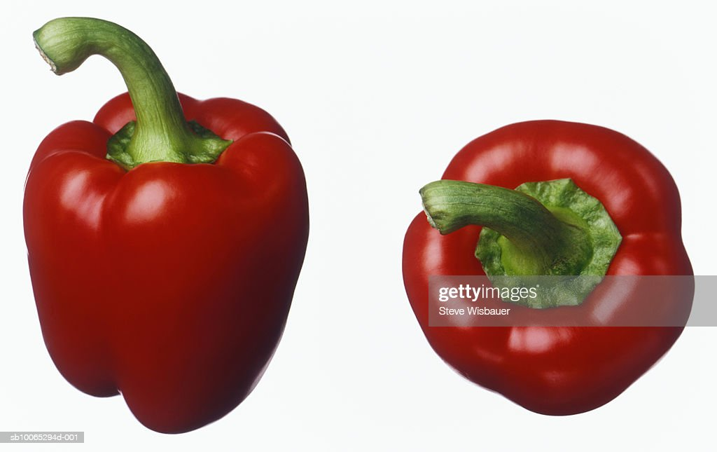 Two Red Peppers Studio Shot Close Up Stock Photo